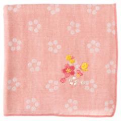 和の花ハンカチ 桜 花柄 刺繍入りガーゼハンカチ スーベニール Japanese pattern embroidered gauze handkerchief