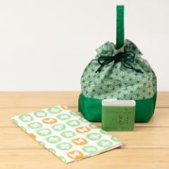 江処堂 洗顔石鹸セット 緑茶 手ぬぐい・巾着付き 天然の保湿成分をまるごと閉じ込めたハンドメイド石けん Green tea hamdmade soap