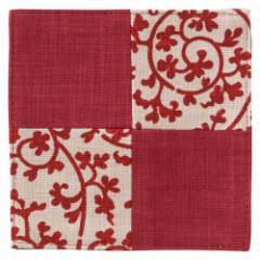 百道発信 祝唐草コースター 赤 (IKI-1372) リバーシブル 福岡県の布製品 Fabric coaster