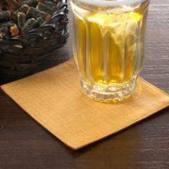 百道発信 四季彩スクエア 11cmコースター 橙 (IKI-1249) リバーシブル 福岡県の布製品 Fabric coaster, Fukuoka craft
