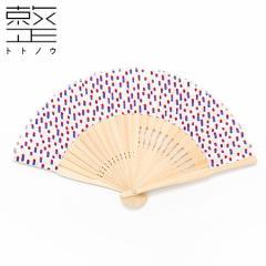 扇子 アシンメトリ プチ ドットホワイト 整 -トトノウ- 扇骨まで視線を感じる美しい扇子 Sensu fan Asymmetry