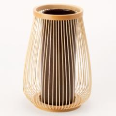 駿河竹千筋細工 花器 嵯峨野 さらし 静岡県伝統工芸品 黒田雅年 作 Suruga-takesensuji-zaiku, Vase made of bamboo sticks