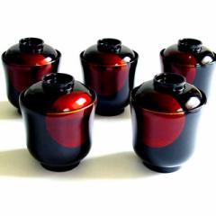 【蓋付き椀】小吸物椀 日月白檀 5客セット 漆塗り (MA-607) Bowl with lid