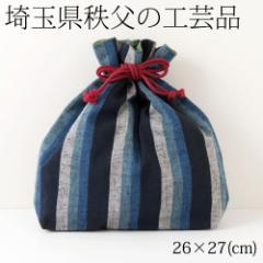 秩父縞 巾着袋02 埼玉県秩父の工芸品 Drawsting bag, Saitama chichibu craft