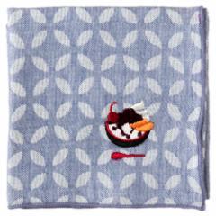 甘味ハンカチ あんみつ 七宝柄 刺繍入りガーゼハンカチ スーベニール Japanese pattern embroidered gauze handkerchief