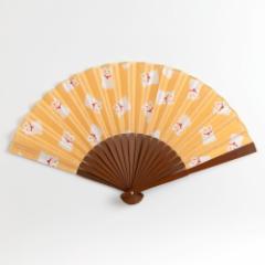 てぬぐい扇子 招き猫 スーベニール Tenugui sensu folding fan Karancolon Kyoto ※在庫限り