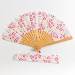 華やぎ扇子セット 桜クリーム スーベニール 刺繍入り布貼り扇子 扇子袋付き Sensu fan ※在庫限り