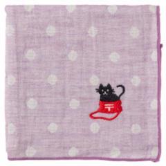 にゃんこハンカチ 黒猫(ドット) 刺繍入りガーゼハンカチ スーベニール Cat pattern embroidered gauze handkerchief