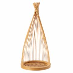 駿河竹千筋細工 飾り台 新雪 静岡県伝統工芸品 黒田雅年 作 Suruga-takesensuji-zaiku, Decoration table made of bamboo sticks