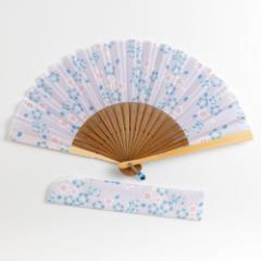 華やぎ扇子セット 桜水色 スーベニール 刺繍入り布貼り扇子 扇子袋付き Sensu fan ※在庫限り