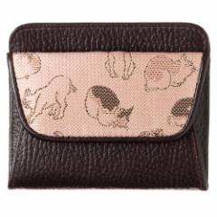 京都 あらいそ ねこ尽くしコインケース 桃×茶 西陣織名物裂 Kyoto nishijin, Coin purse