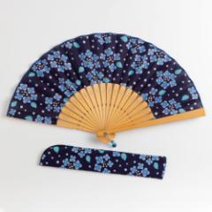 華やぎ扇子セット あじさい紺 スーベニール 刺繍入り布貼り扇子 扇子袋付き Sensu fan ※在庫限り