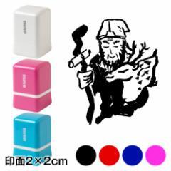 寿老人 七福神スタンプ浸透印 印面2×2cmサイズ (2020) Self-inking stamp, Seven Gods of Good Fortune