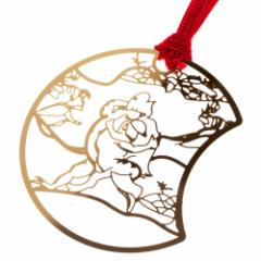 鳥獣戯画しおりA かえるとうさぎの相撲 (CJG001) 金の栞シリーズ 24K表面加工 金属製ブックマーカー Metal bookmark, Choju-giga