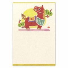 和道楽 和風版画風ポストカード しろたえ 赤駒(1枚)