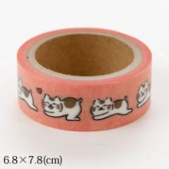 ますきんぐテープ いやしねこ くねくね (QMT01) 15mm×5m巻マスキングテープ Masking tape