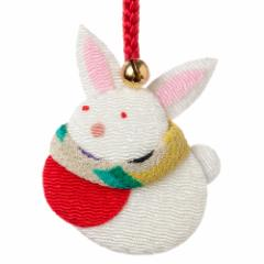 京都夢み屋 十二支根付 卯 -うさぎ- (YE15-13) ちりめん細工の干支小物 Japanese zodiac accessory of crepe fabric