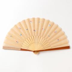ちらし刺繍扇子2020 かき氷 刺繍入り布貼り扇子 男女兼用 スーベニール Sensu fan
