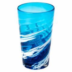 琉球ガラス 荒波シリーズ コバルトタンブラー (686-0041) 作者:源河源吉 沖縄県の工芸品 Ryukyu glass, Genka Genkichi, Okinawa c