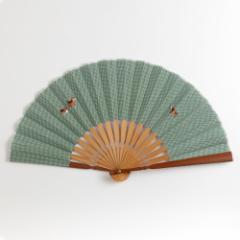アニマル刺繍扇子 イヌ スーベニール 刺繍入り布貼り扇子 Sensu fan ※在庫限り