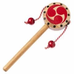 木製でんでん太鼓 天然素材で作られた昔ながらの民芸品 懐かしのおもちゃ・玩具  Traditional Japanese toy