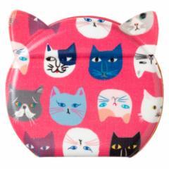 きてきて 猫型かがみ(小) 猫博覧会柄ぴんくいろ 鏡・コンパクトミラー Compact mirror