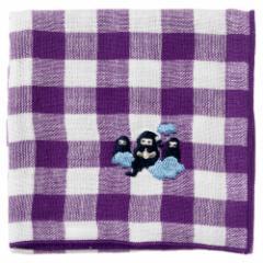 忍者ハンカチ 分身の術(チェック) 刺繍入りガーゼハンカチ スーベニール Japanese pattern embroidered gauze handkerchief
