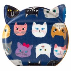 きてきて 猫型かがみ(小) 猫博覧会柄あおいろ 鏡・コンパクトミラー Compact mirror