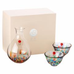 津軽びいどろ酒器セット ねぶた流し 徳利と盃のセット ガラス酒器 青森県の工芸品 Sake bottle & cups, Aomori craft