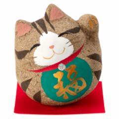 桐のこ人形 丸招き猫 茶トラ 木之本 福島県の工芸品 Lucky cat, Fukushima craft