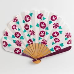 てぬぐいシェル扇子 朝顔 スーベニール 布貼り扇子 Sensu fan ※在庫限り