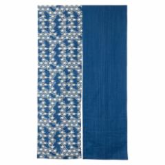 小島屋 藍染め暖簾(のれん)あさぎ 麻の葉柄 武州正藍染 埼玉県の工芸品 Short split curtain made of indigo dye fabric, Saitama