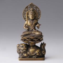 仏像・八体仏 高岡鋳物 文殊菩薩 15cm (BZ-003) 卯年生まれのお守本尊 インテリア鋳造仏 Casting Buddha statue Takaoka imono Monju