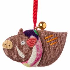 京都夢み屋 十二支根付 亥 -いのしし- (YE15-21) ちりめん細工の干支小物 Japanese zodiac accessory of crepe fabric