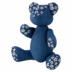 小島屋 藍染めベア・あいくま さくら柄/あさぎ 武州正藍染の置物 クマの人形 テディベア 埼玉県の工芸品 Bear doll made of indi