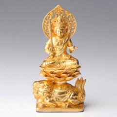 仏像・八体仏 高岡鋳物 文殊菩薩(金箔) 15cm (BZ-003-AGH) 卯年生まれのお守本尊 インテリア鋳造仏 Casting Buddha statue Takaoka