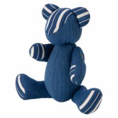 小島屋 藍染めベア・あいくま 縞柄/あさぎ 武州正藍染の置物 クマの人形 テディベア 埼玉県の工芸品 Bear doll made of indigo d
