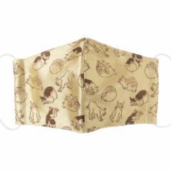 京都 あらいそ 西陣織名物裂 和装マスク008 ねこ尽くし文様 淡黄 正絹織物とガーゼを組み合わせた和風スタイルマスク 男女兼用 Ky