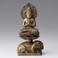 仏像・八体仏 高岡鋳物 普賢菩薩 15cm (BZ-004) 辰・巳年生まれのお守本尊 インテリア鋳造仏 Casting Buddha statue Takaoka imono F