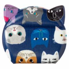 きてきて 猫型かがみ(ミニ) 猫博覧会柄あおいろ 鏡・コンパクトミラー Compact mirror
