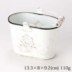 ミニバケツ 白 アンティーク仕上げ Mini bucket, Antique style