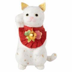 めでたや招き猫 しろ めでたや 和紙の置物 Japanese paper lucky cat figurine