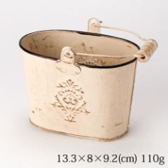 ミニバケツ ベージュ アンティーク仕上げ Mini bucket, Antique style