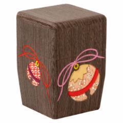 茶筒(小)001 鈴の木目込み細工 桐製・時代仕上 箱長の桐工芸品 Tea canister of Paulownia, Hakocho