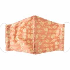 京都 あらいそ 西陣織名物裂 和装マスク013 宝尽し子犬紋 赤 正絹織物とガーゼを組み合わせた和風スタイルマスク 男女兼用 Kyoto