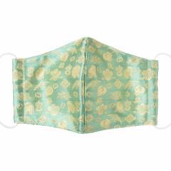 京都 あらいそ 西陣織名物裂 和装マスク014 宝尽し子犬紋 青 正絹織物とガーゼを組み合わせた和風スタイルマスク 男女兼用 Kyoto