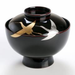 【蓋付き椀】雑煮椀 千羽鶴 溜 1客 (MA-548) Bowl with lid