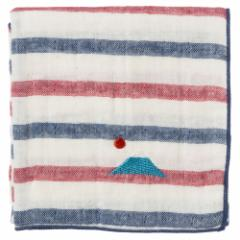 富士山ハンカチ 富士山(ボーダー) 刺繍入りガーゼハンカチ スーベニール Japanese pattern embroidered gauze handkerchief
