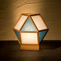 和風スタンドライト 行灯 的 mato 白×藍 1灯タイプ (A522-D) 杉材と強化和紙の照明器具 LED電球対応 Japanese style floor lamp