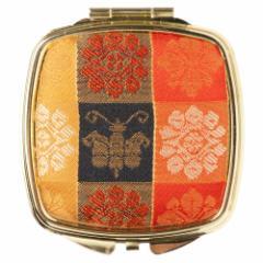 京都 あらいそ コンパクトミラー四角001 市松花蝶紋 西陣織名物裂 手鏡 拡大鏡付き Kyoto nishijin, Compact mirror